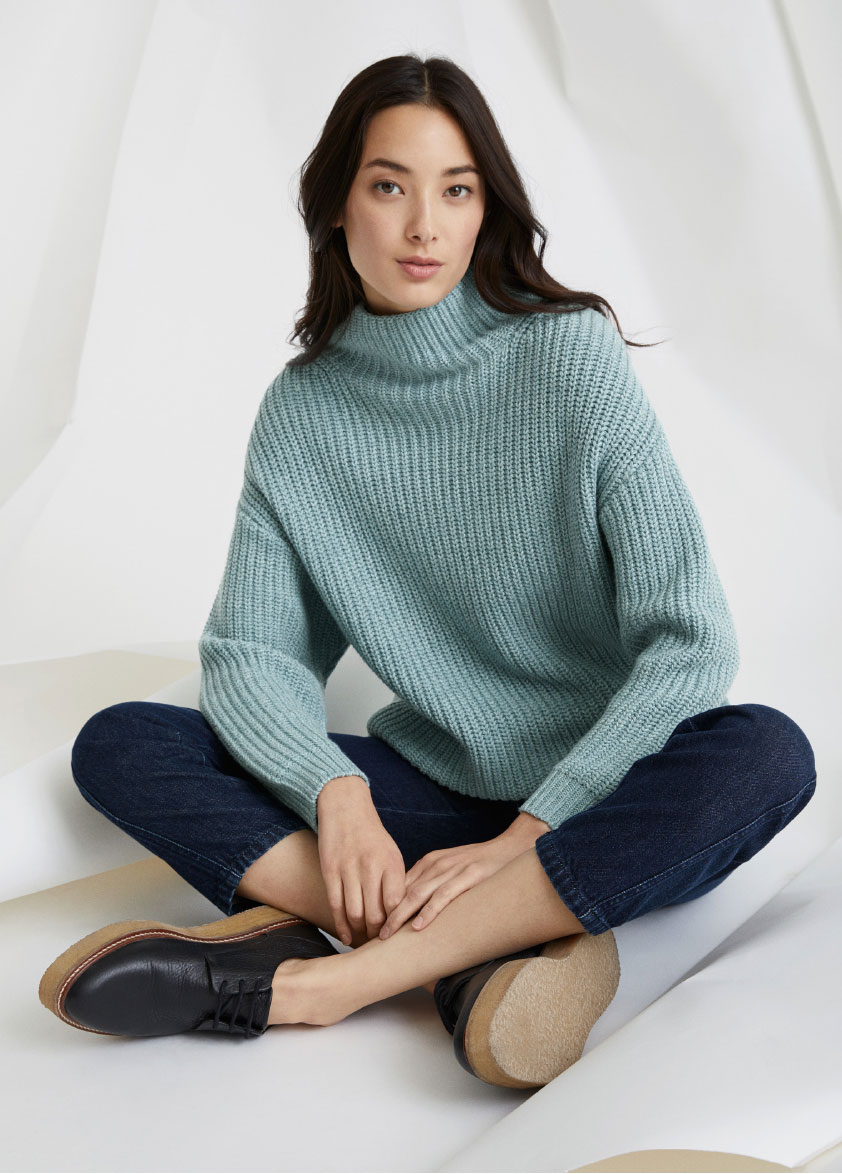 Oversized cotton and wool sweater