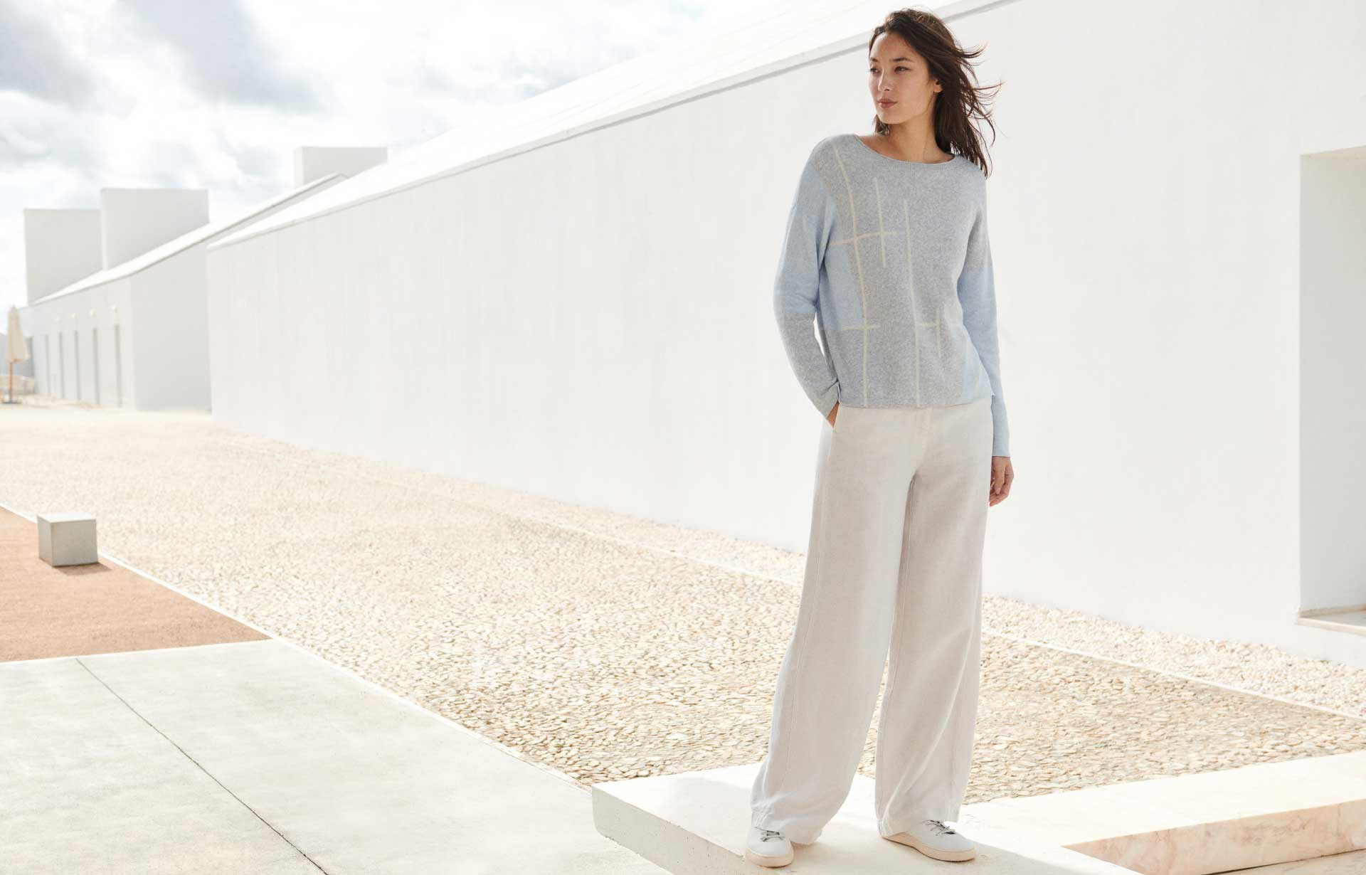 Pale Neutral and White Linen Trousers